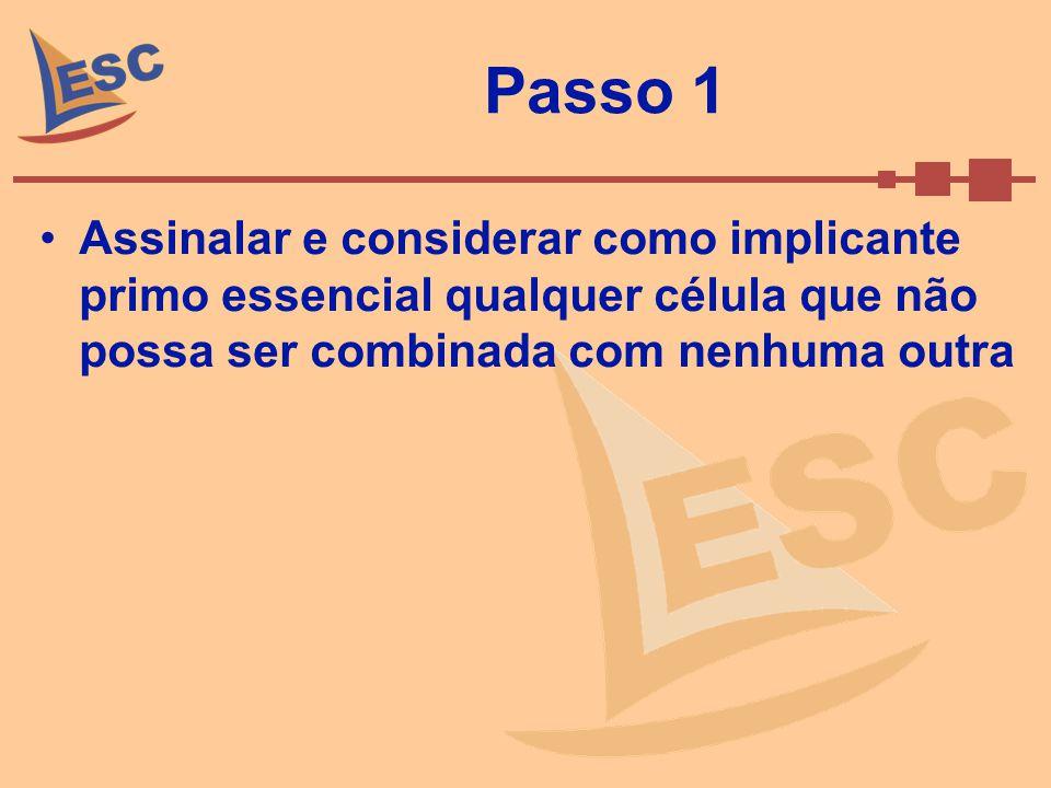 Passo 1 Assinalar e considerar como implicante primo essencial qualquer célula que não possa ser combinada com nenhuma outra.