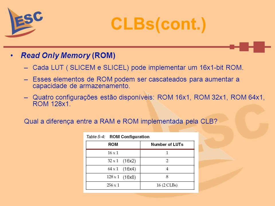 CLBs(cont.) Read Only Memory (ROM)