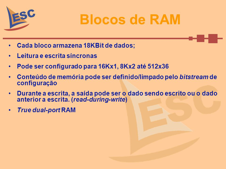 Blocos de RAM Cada bloco armazena 18KBit de dados;
