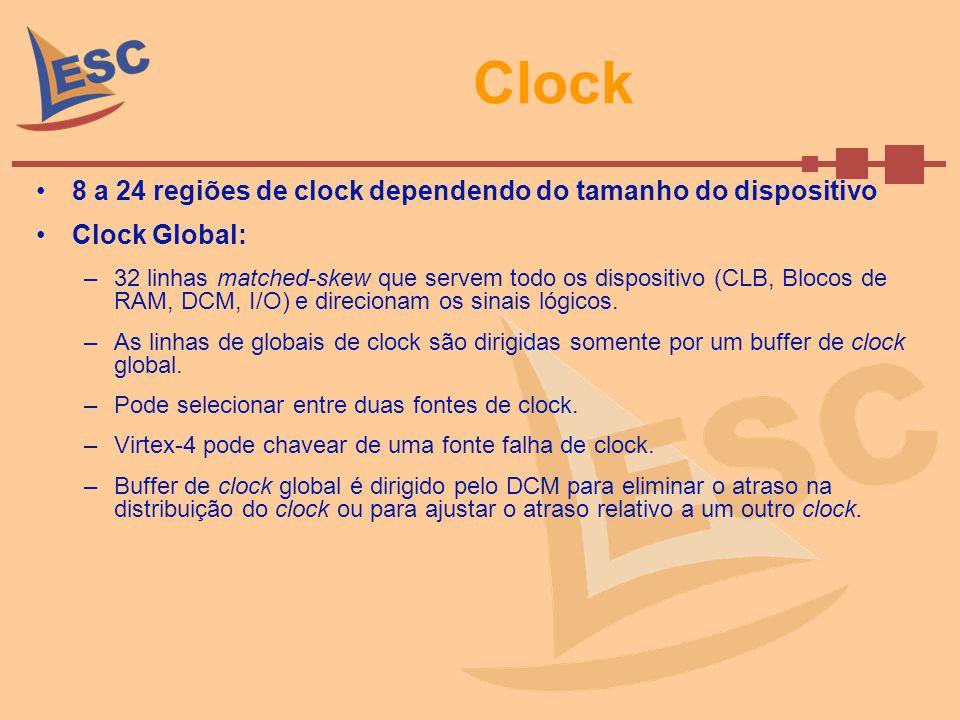 Clock 8 a 24 regiões de clock dependendo do tamanho do dispositivo