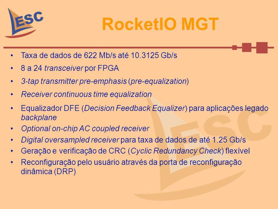 RocketIO MGT Taxa de dados de 622 Mb/s até 10.3125 Gb/s