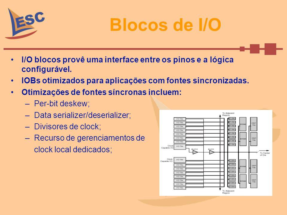 Blocos de I/O I/O blocos provê uma interface entre os pinos e a lógica configurável. IOBs otimizados para aplicações com fontes sincronizadas.