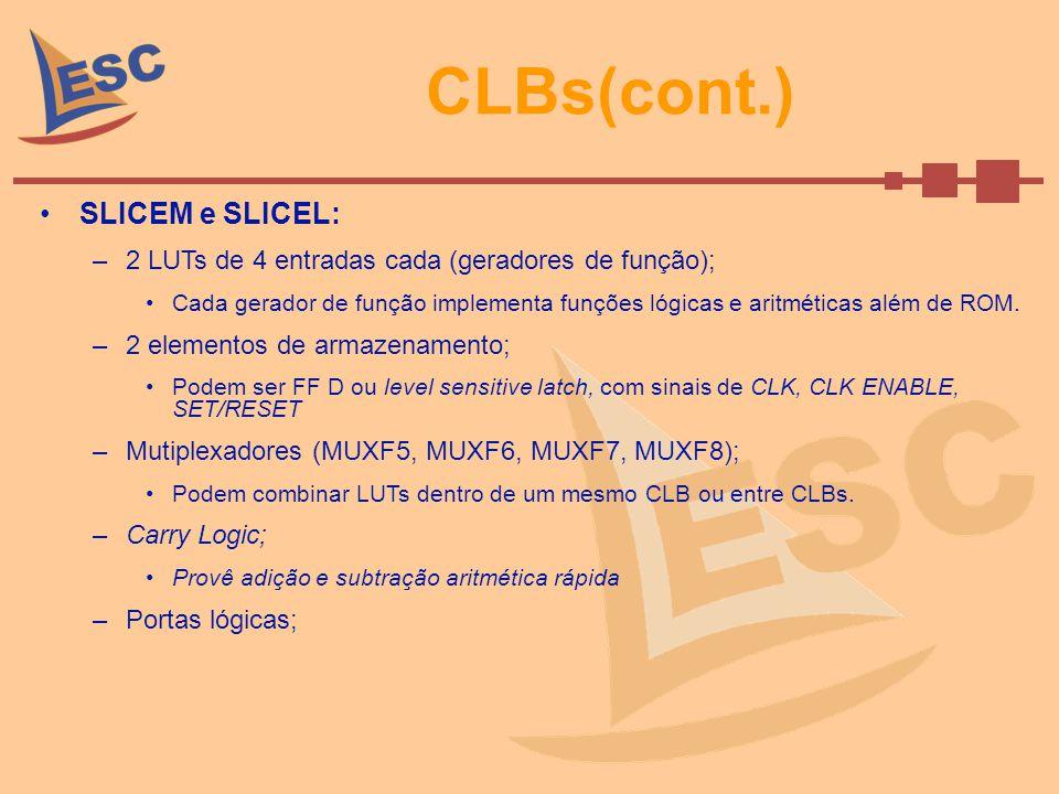 CLBs(cont.) SLICEM e SLICEL:
