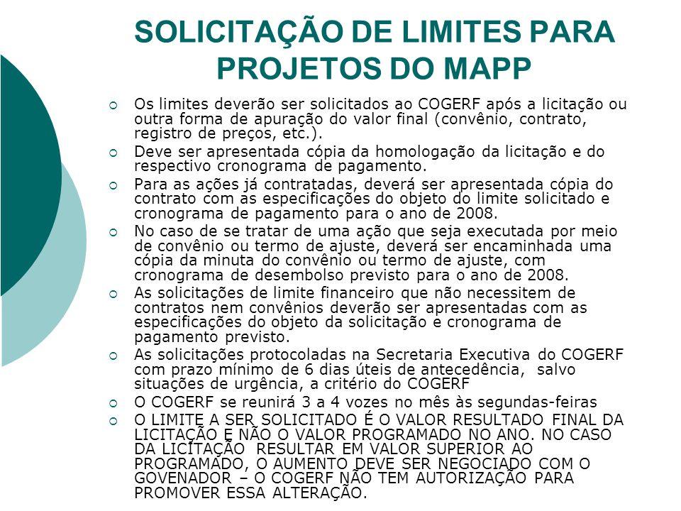 SOLICITAÇÃO DE LIMITES PARA PROJETOS DO MAPP