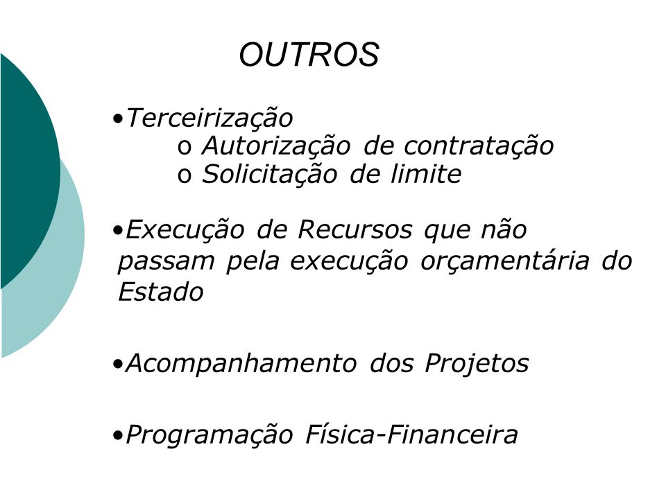 OUTROS Terceirização Autorização de contratação Solicitação de limite