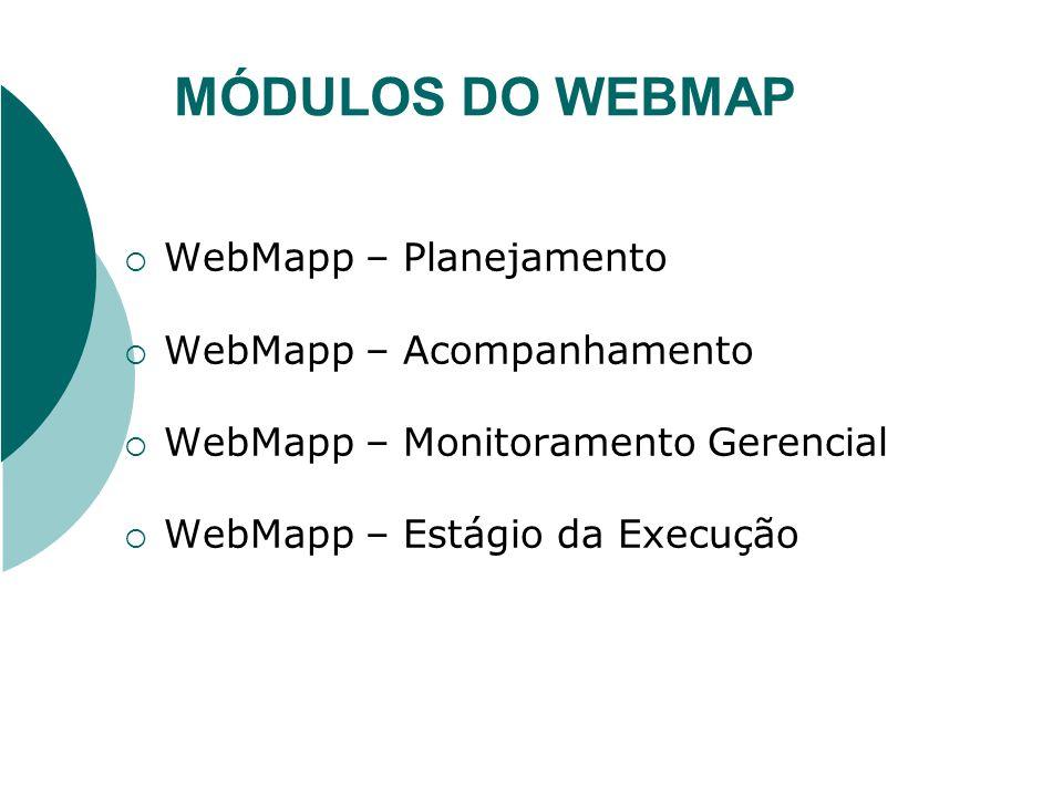 MÓDULOS DO WEBMAP WebMapp – Planejamento WebMapp – Acompanhamento