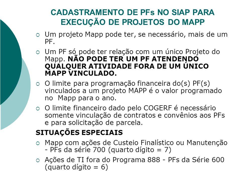 CADASTRAMENTO DE PFs NO SIAP PARA EXECUÇÃO DE PROJETOS DO MAPP