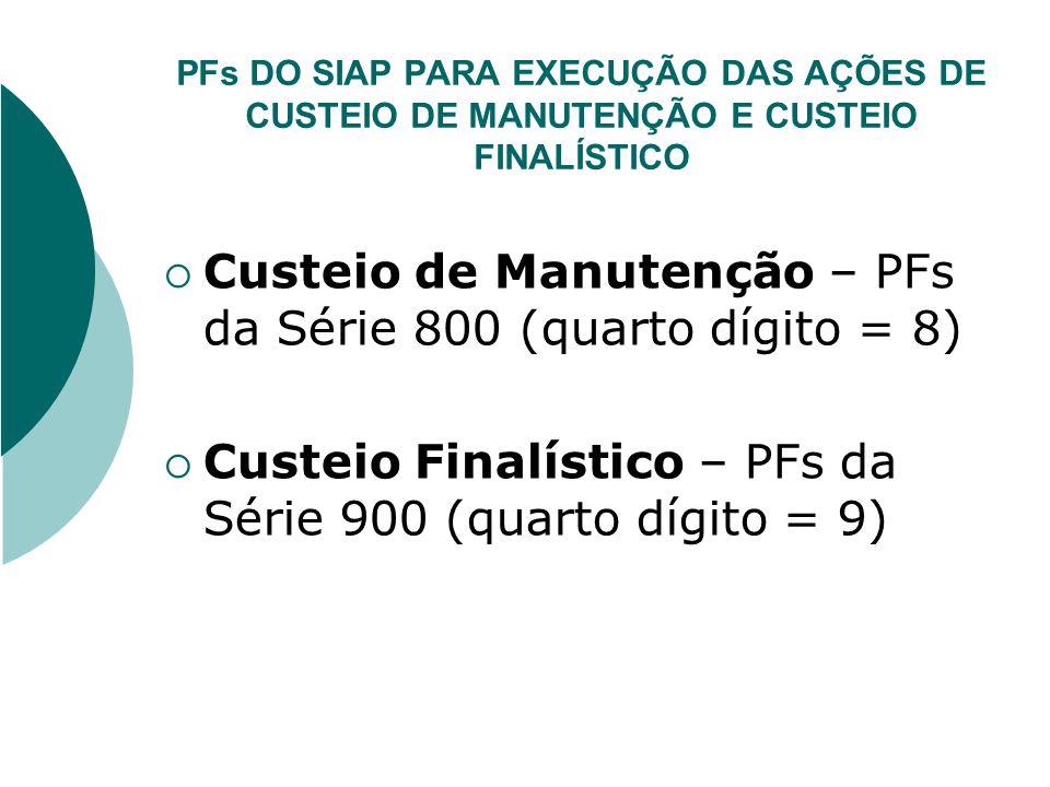 Custeio de Manutenção – PFs da Série 800 (quarto dígito = 8)