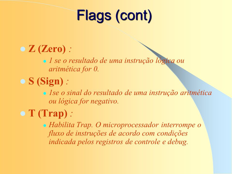 Flags (cont) Z (Zero) : S (Sign) : T (Trap) :