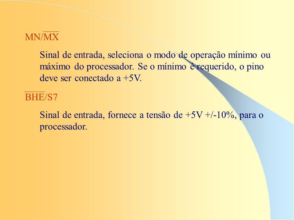 MN/MX Sinal de entrada, seleciona o modo de operação mínimo ou máximo do processador. Se o mínimo é requerido, o pino deve ser conectado a +5V.