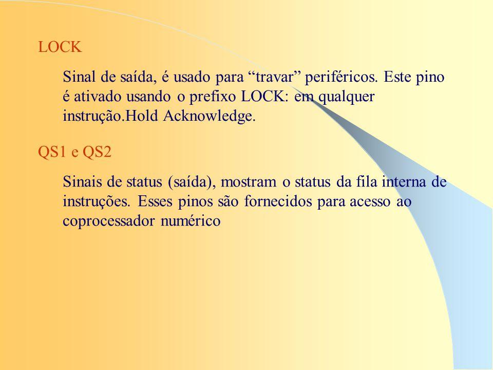 LOCK Sinal de saída, é usado para travar periféricos. Este pino é ativado usando o prefixo LOCK: em qualquer instrução.Hold Acknowledge.