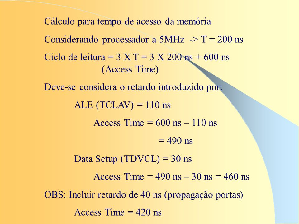 Cálculo para tempo de acesso da memória