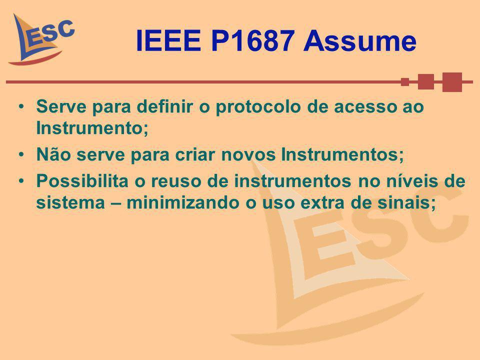 IEEE P1687 Assume Serve para definir o protocolo de acesso ao Instrumento; Não serve para criar novos Instrumentos;