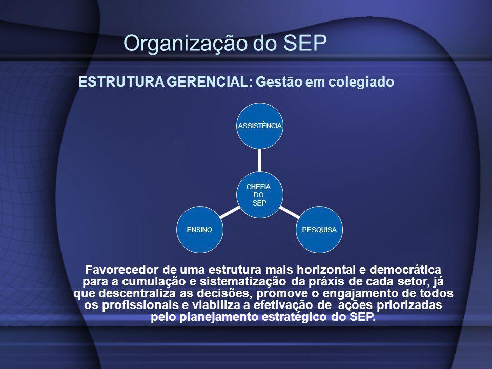 Organização do SEP ESTRUTURA GERENCIAL: Gestão em colegiado