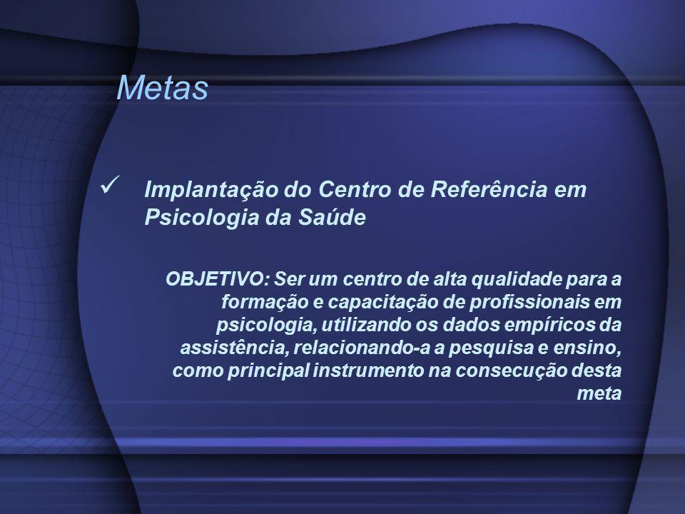 Metas Implantação do Centro de Referência em Psicologia da Saúde