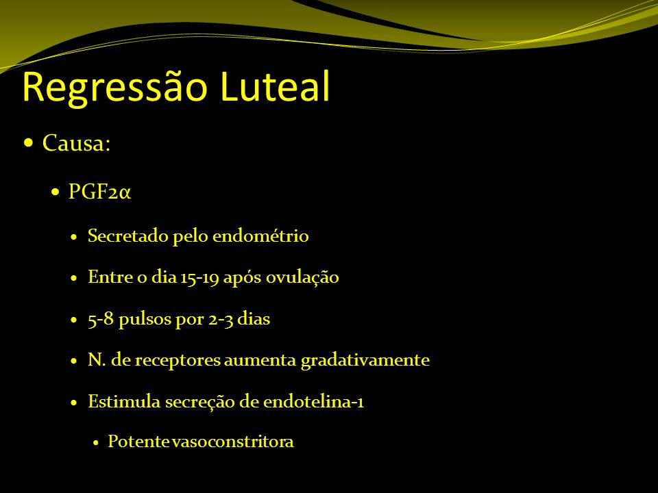 Regressão Luteal Causa: PGF2α Secretado pelo endométrio