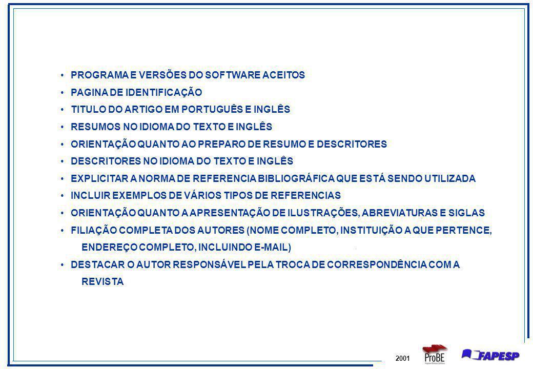 PROGRAMA E VERSÕES DO SOFTWARE ACEITOS PAGINA DE IDENTIFICAÇÃO