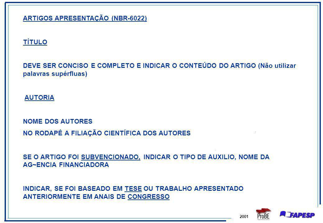 ARTIGOS APRESENTAÇÃO (NBR-6022) TÍTULO