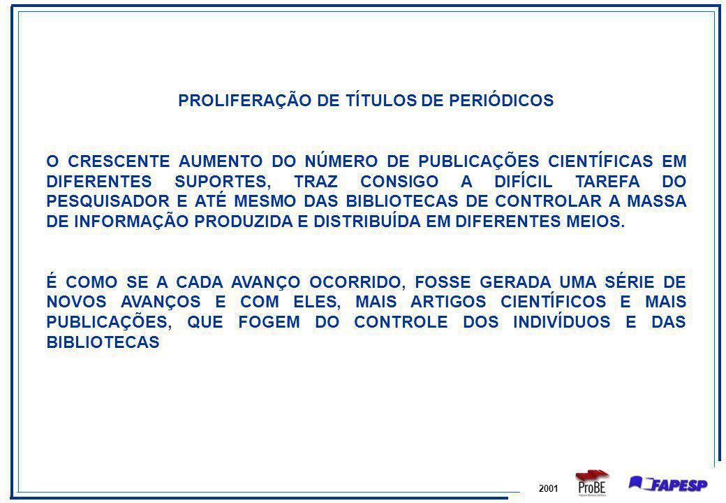 PROLIFERAÇÃO DE TÍTULOS DE PERIÓDICOS