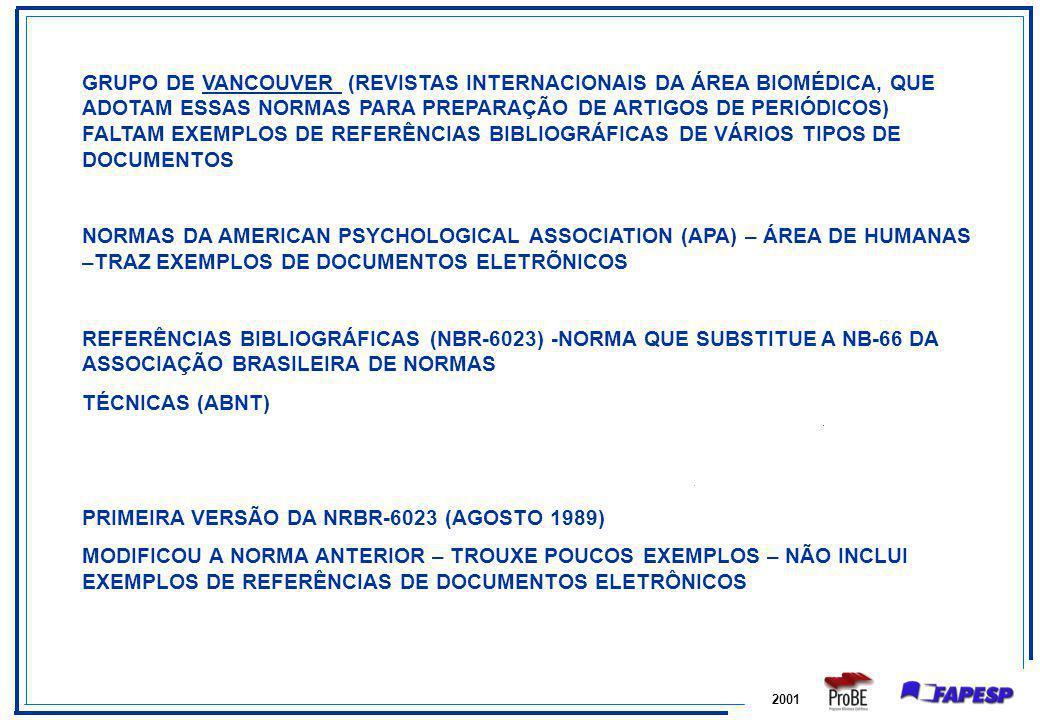 PRIMEIRA VERSÃO DA NRBR-6023 (AGOSTO 1989)