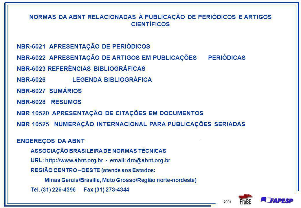 NBR-6021 APRESENTAÇÃO DE PERIÓDICOS