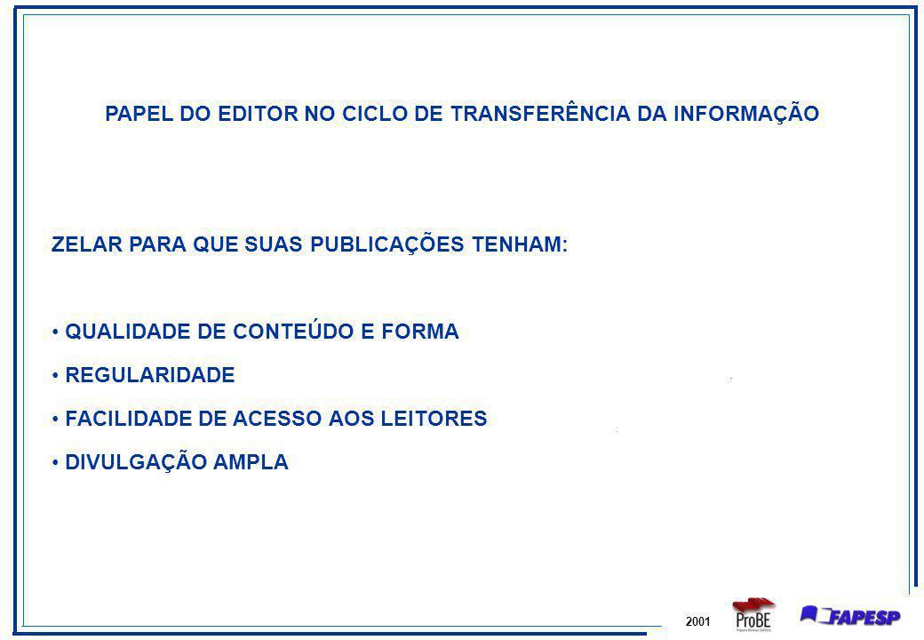 PAPEL DO EDITOR NO CICLO DE TRANSFERÊNCIA DA INFORMAÇÃO