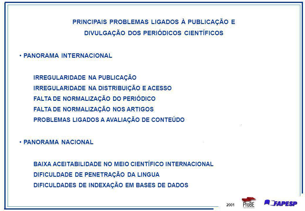 PRINCIPAIS PROBLEMAS LIGADOS À PUBLICAÇÃO E