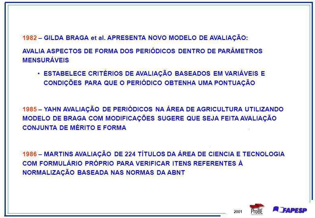 1982 – GILDA BRAGA et al. APRESENTA NOVO MODELO DE AVALIAÇÃO: