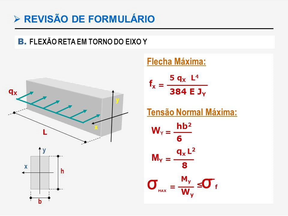 σ  REVISÃO DE FORMULÁRIO Flecha Máxima: Tensão Normal Máxima: fx WY