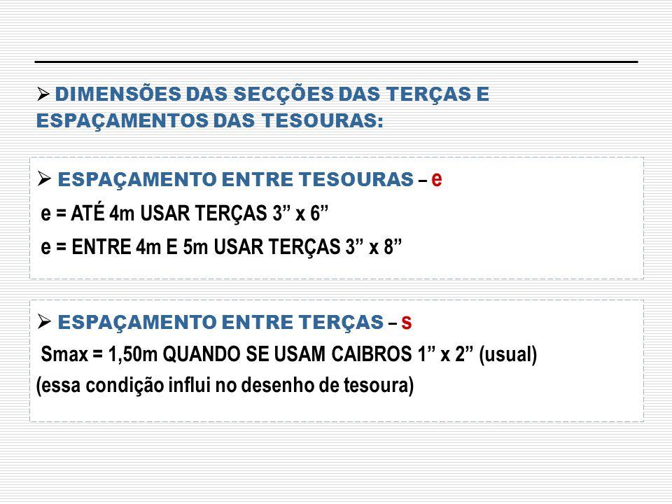  DIMENSÕES DAS SECÇÕES DAS TERÇAS E ESPAÇAMENTOS DAS TESOURAS: