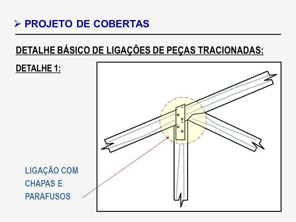 DETALHE BÁSICO DE LIGAÇÕES DE PEÇAS TRACIONADAS:
