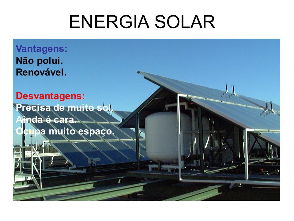 ENERGIA SOLAR Vantagens: Não polui. Renovável. Desvantagens: