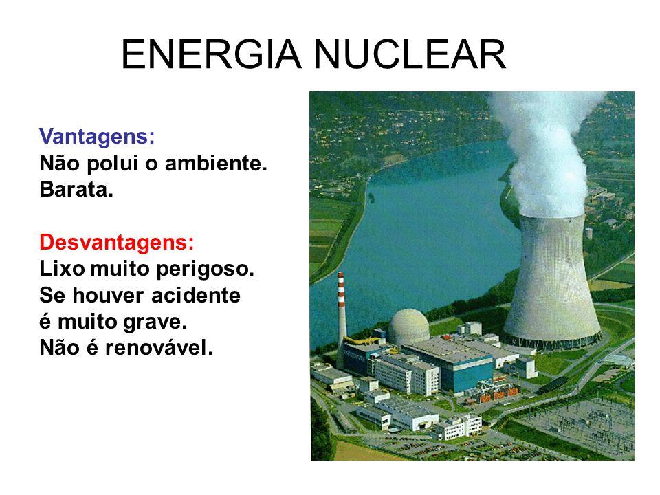 ENERGIA NUCLEAR Vantagens: Não polui o ambiente. Barata. Desvantagens: