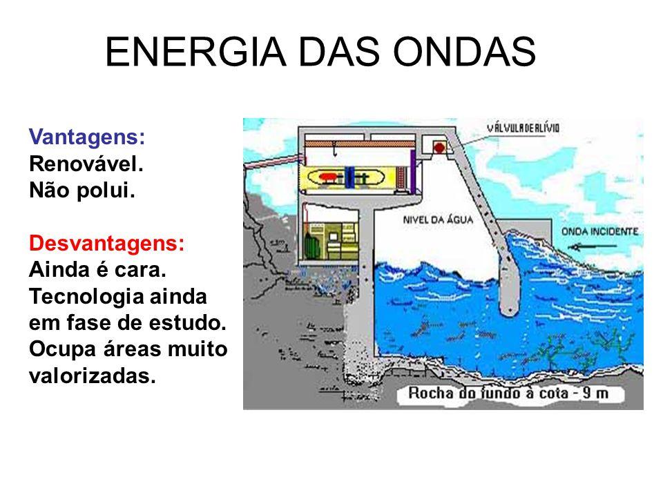 ENERGIA DAS ONDAS Vantagens: Renovável. Não polui. Desvantagens:
