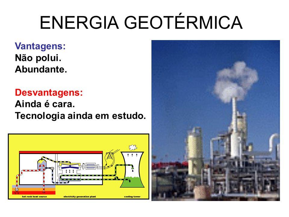 ENERGIA GEOTÉRMICA Vantagens: Não polui. Abundante. Desvantagens: