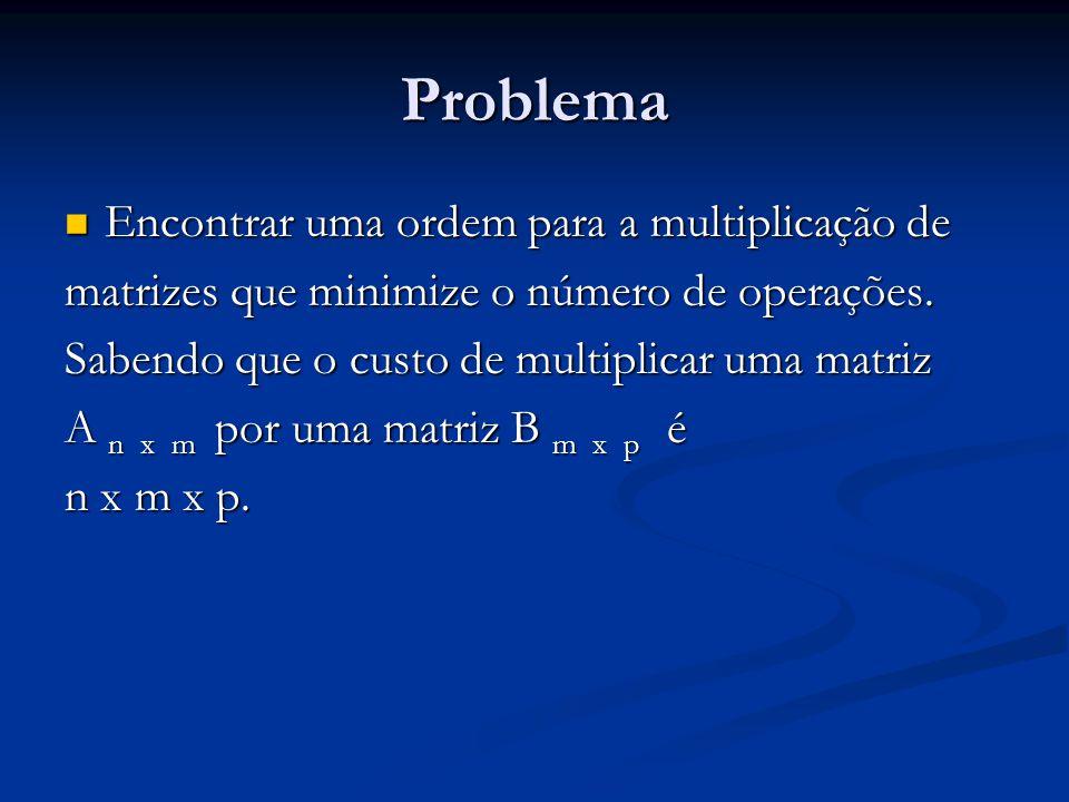 Problema Encontrar uma ordem para a multiplicação de