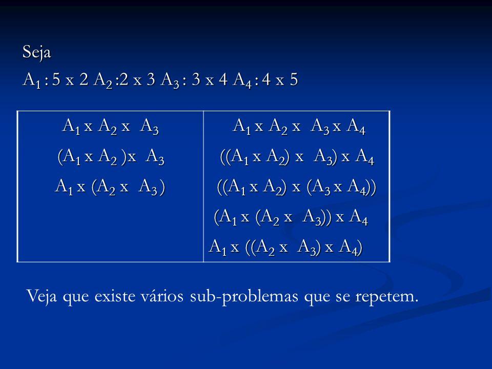 Seja A1 : 5 x 2 A2 :2 x 3 A3 : 3 x 4 A4 : 4 x 5. A1 x A2 x A3. A1 x A2 x A3 x A4. (A1 x A2 )x A3.