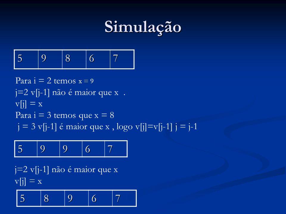 Simulação 5 9 8 6 7 5 9 6 7 5 8 9 6 7 Para i = 2 temos x = 9