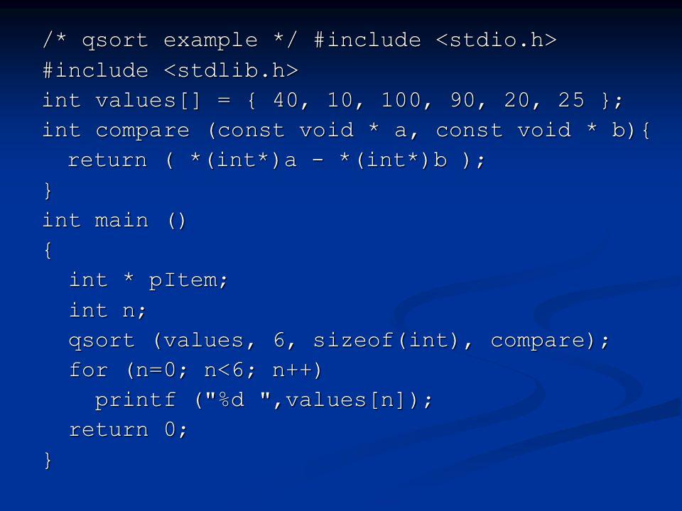 /* qsort example */ #include <stdio.h>