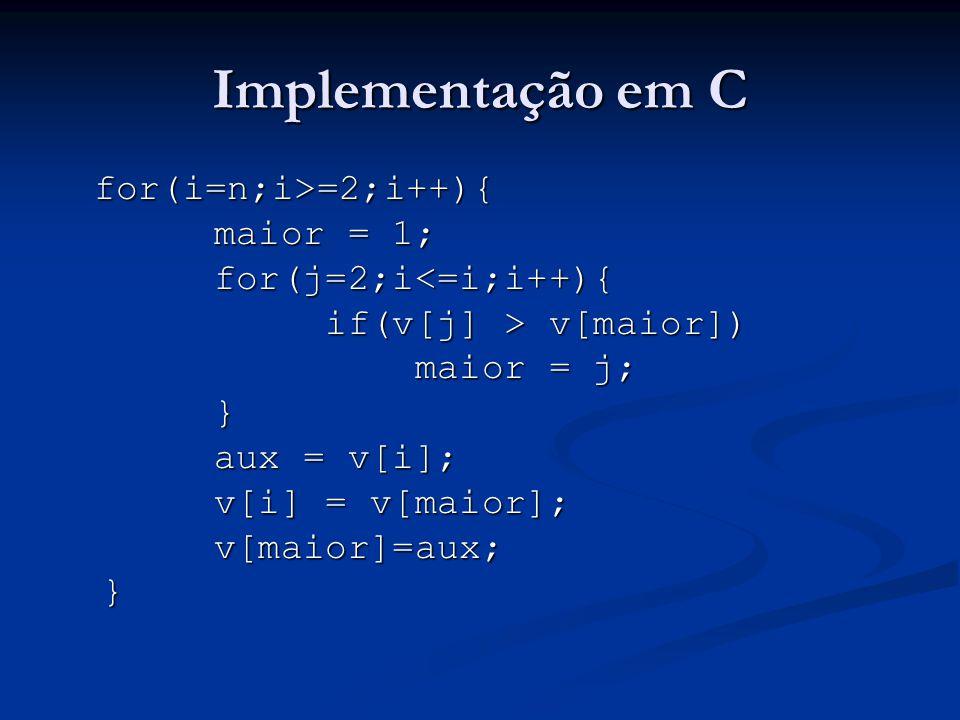 Implementação em C for(i=n;i>=2;i++){ maior = 1;