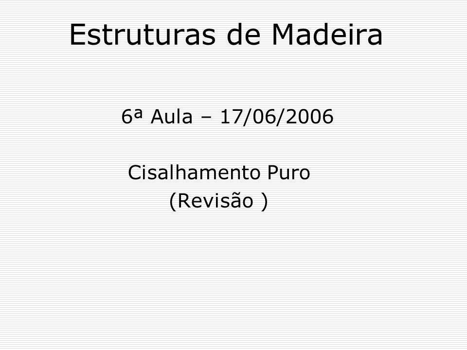 Estruturas de Madeira 6ª Aula – 17/06/2006 Cisalhamento Puro