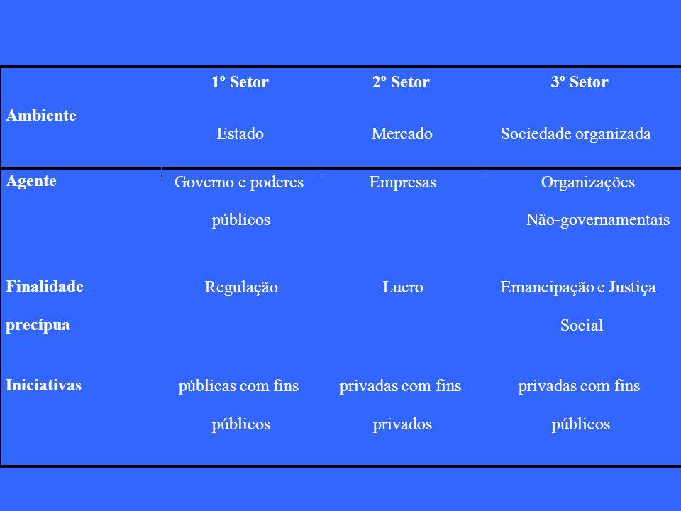 1º Setor 2º Setor. 3º Setor. Ambiente. Estado. Mercado. Sociedade organizada. Agente. Governo e poderes.