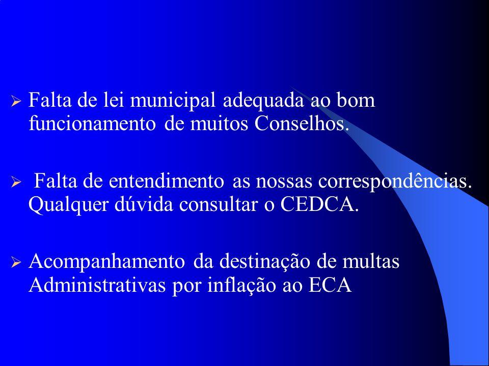 Falta de lei municipal adequada ao bom funcionamento de muitos Conselhos.