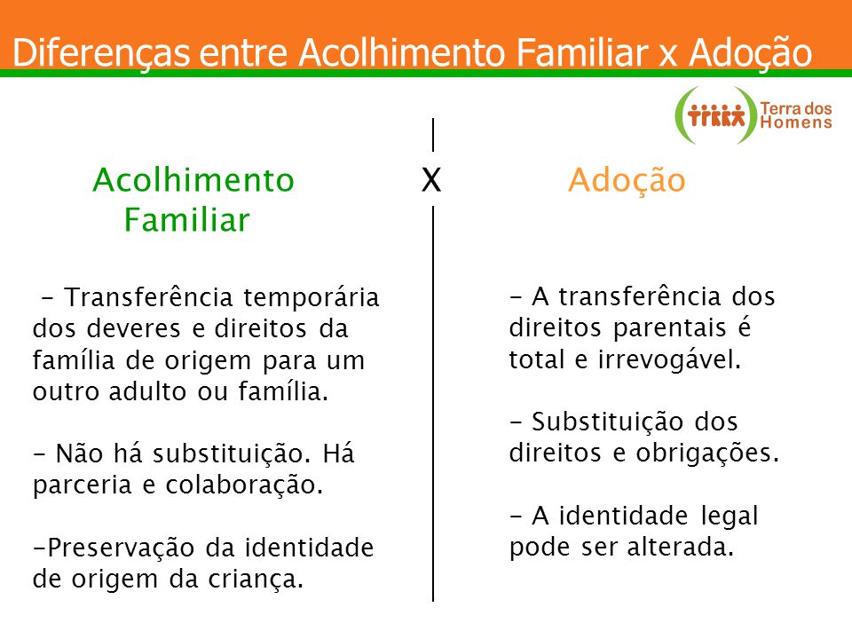 Diferenças entre Acolhimento Familiar x Adoção