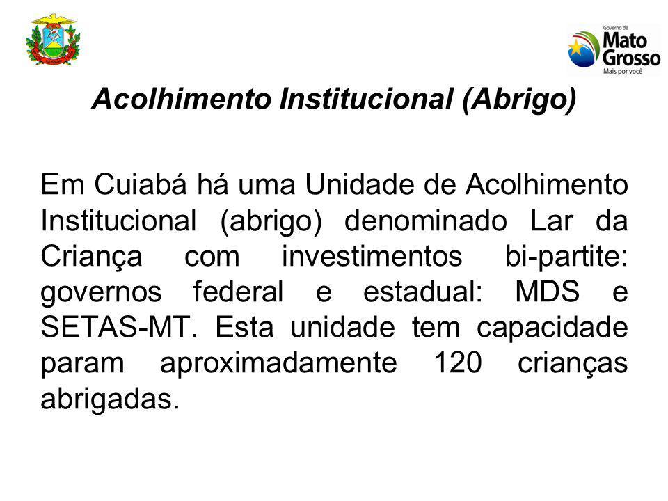 Acolhimento Institucional (Abrigo) Em Cuiabá há uma Unidade de Acolhimento Institucional (abrigo) denominado Lar da Criança com investimentos bi-partite: governos federal e estadual: MDS e SETAS-MT.