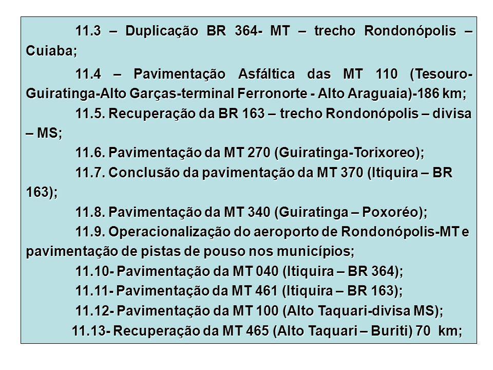 11.3 – Duplicação BR 364- MT – trecho Rondonópolis – Cuiaba;