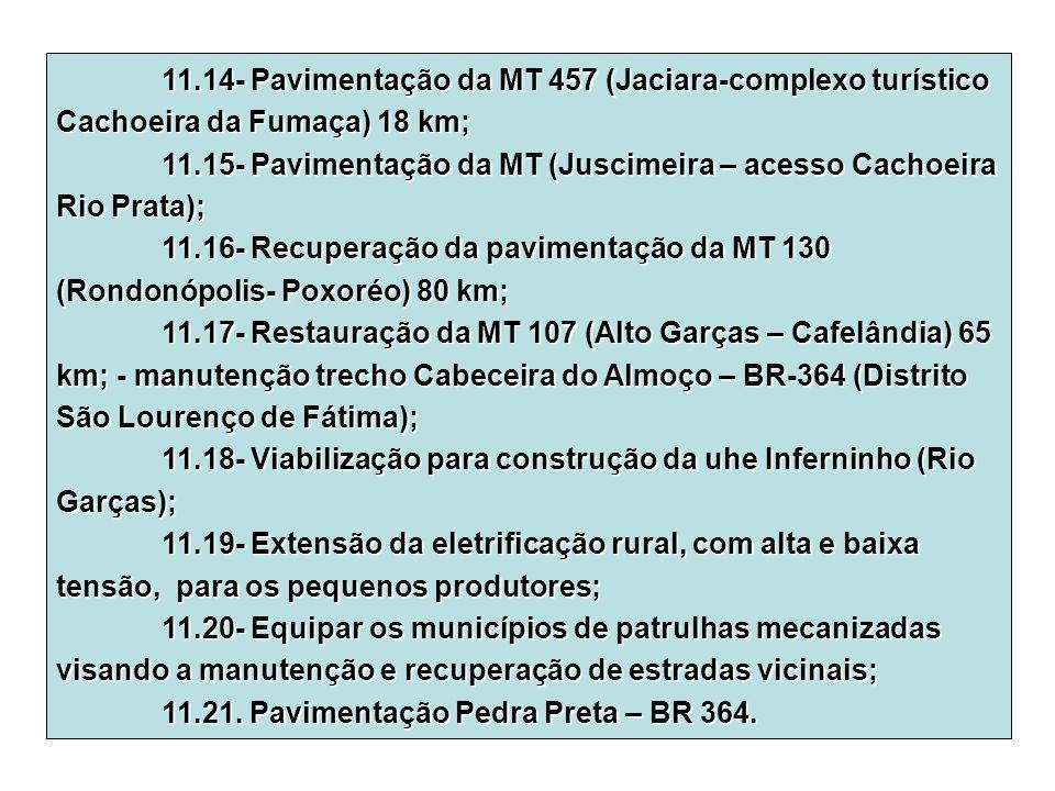 11.14- Pavimentação da MT 457 (Jaciara-complexo turístico Cachoeira da Fumaça) 18 km;