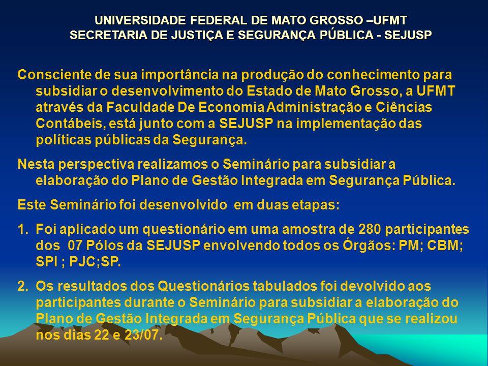 Consciente de sua importância na produção do conhecimento para subsidiar o desenvolvimento do Estado de Mato Grosso, a UFMT através da Faculdade De Economia Administração e Ciências Contábeis, está junto com a SEJUSP na implementação das políticas públicas da Segurança.