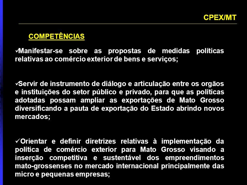 CPEX/MT COMPETÊNCIAS. Manifestar-se sobre as propostas de medidas políticas relativas ao comércio exterior de bens e serviços;