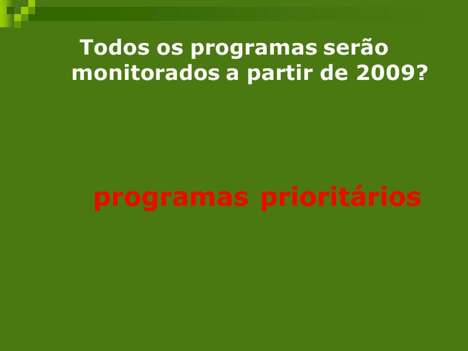 Todos os programas serão monitorados a partir de 2009